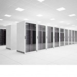 Data Center with 4 rows of servers